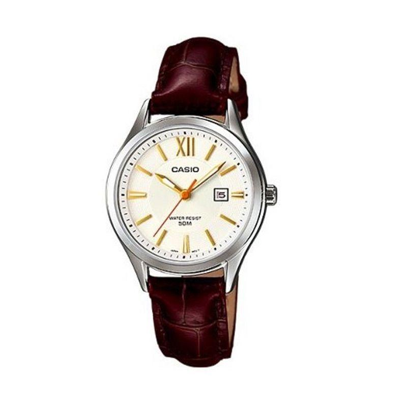 Casio Ladies Analog LTP-E103L-7AVDF Brown White Jam Tangan Wanita