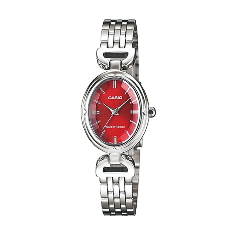 Casio LTP-1374D-4ADF Silver Merah Jam Tangan Wanita