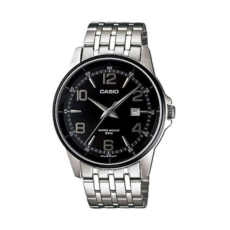 Casio Man Analog MTP-1344AD-1A2VDF Silver Hitam Jam Tangan Pria