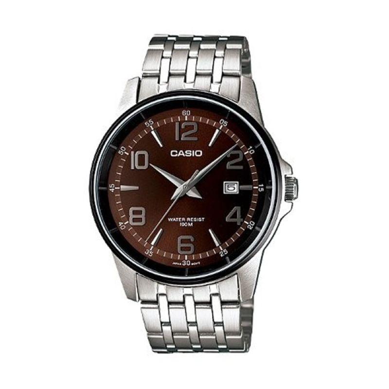Casio Man Analog MTP-1344AD-5A2VDF Silver Coklat Jam Tangan Pria