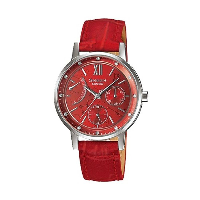 Casio Sheen SHE-3028L-4AUDR Red Jam Tangan Wanita