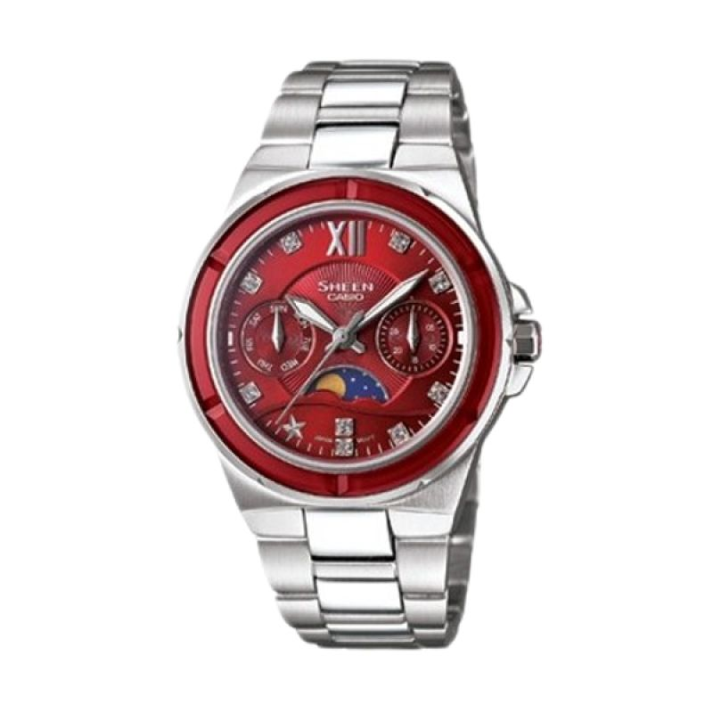 Casio Sheen SHE-3500D-4ADR Silver Red Jam Tangan Wanita