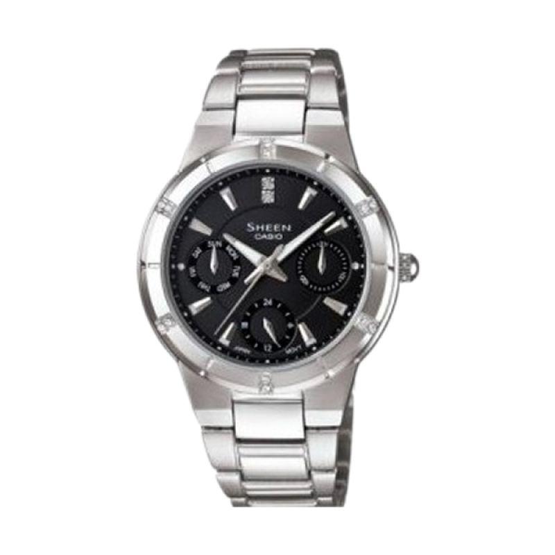 Casio Sheen SHE-3800D-1ADR Silver Black Jam Tangan Wanita