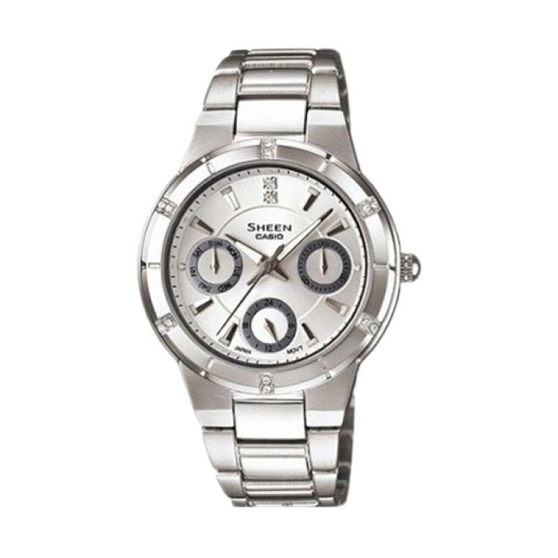 Casio Sheen SHE-3800D-7ADR Silver Jam Tangan Wanita