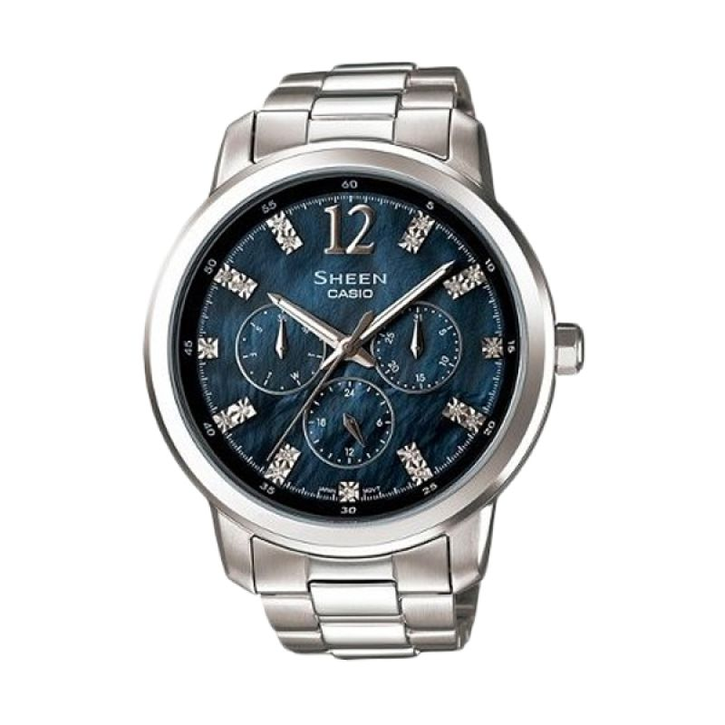 Casio Sheen SHE-3802D-1ADR Silver Dark Blue Jam Tangan Wanita