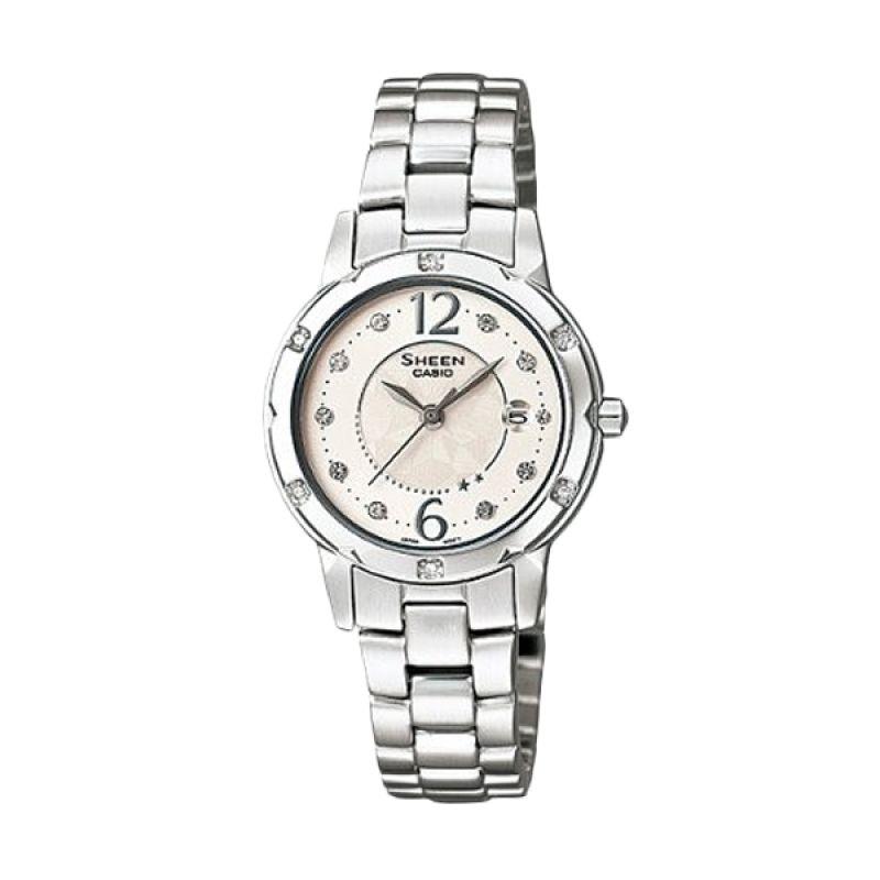 Casio Sheen SHE-4021D-7ADF Silver Putih Jam Tangan Wanita