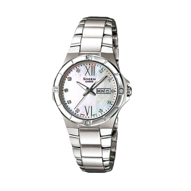 Casio Sheen SHE-4022D-7ADR Silver Putih Jam Tangan Wanita