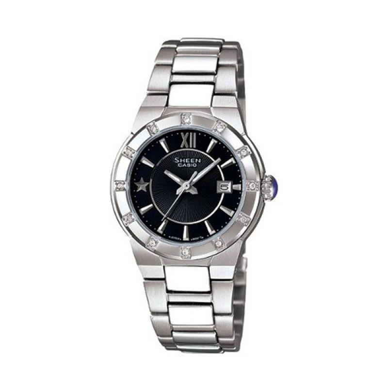 Casio Sheen SHE-4500D-1ADR Silver Hitam Jam Tangan Wanita