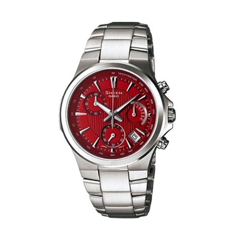 Casio Sheen SHE-5019D-4ADR Silver Merah Jam Tangan Wanita