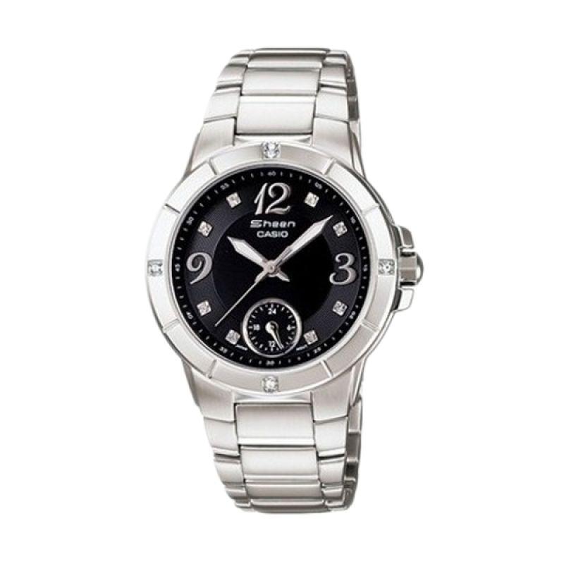 Casio Sheen SHN-3018D-1ADR Silver Black Jam Tangan Wanita