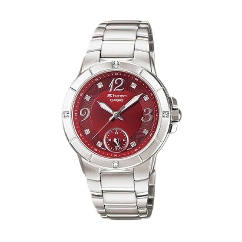 Casio Sheen SHN-3018D-4ADR Silver Red Jam Tangan Wanita