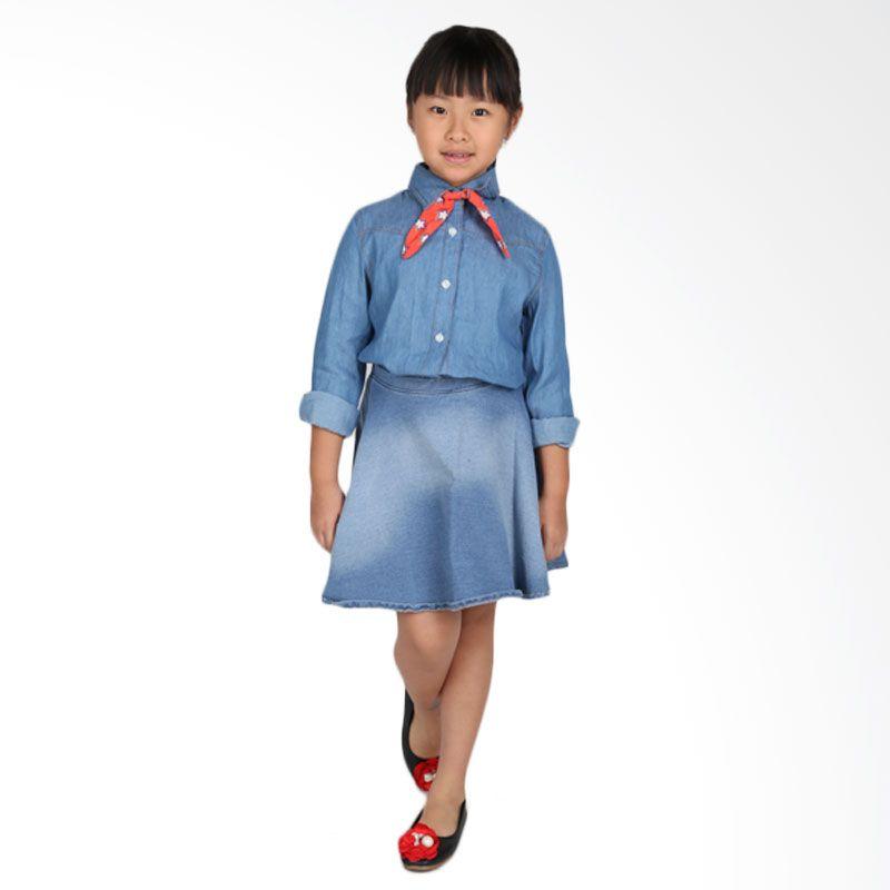 Adel & Audrey Top Shirt 095 Blue Atasan Anak Perempuan