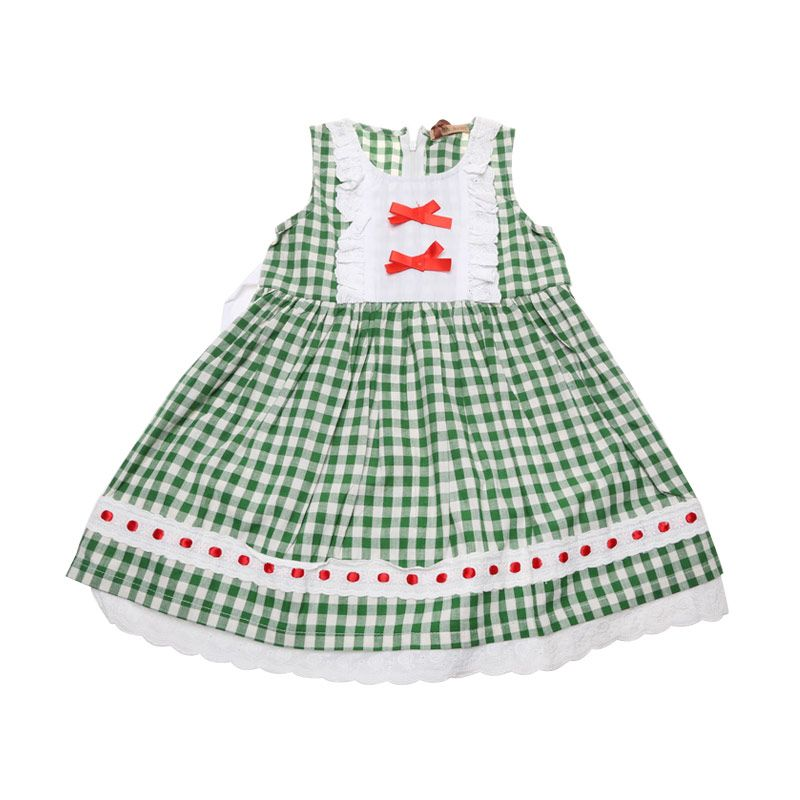 Adel & Audrey 102 Polka Green Dress Anak