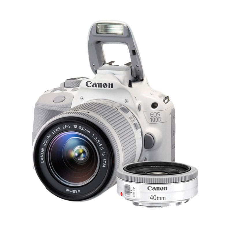 Canon EOS 100D Double Kit 18-55mm + 40mm IS STM Putih Kamera DSLR - 9279526 , 15233511 , 337_15233511 , 8599000 , Canon-EOS-100D-Double-Kit-18-55mm-40mm-IS-STM-Putih-Kamera-DSLR-337_15233511 , blibli.com , Canon EOS 100D Double Kit 18-55mm + 40mm IS STM Putih Kamera DSLR