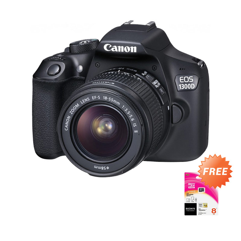 Canon EOS 1300D Kit 18-55mm IS II Kamera DSLR [18 MP] + Free Memory Sony 8 GB