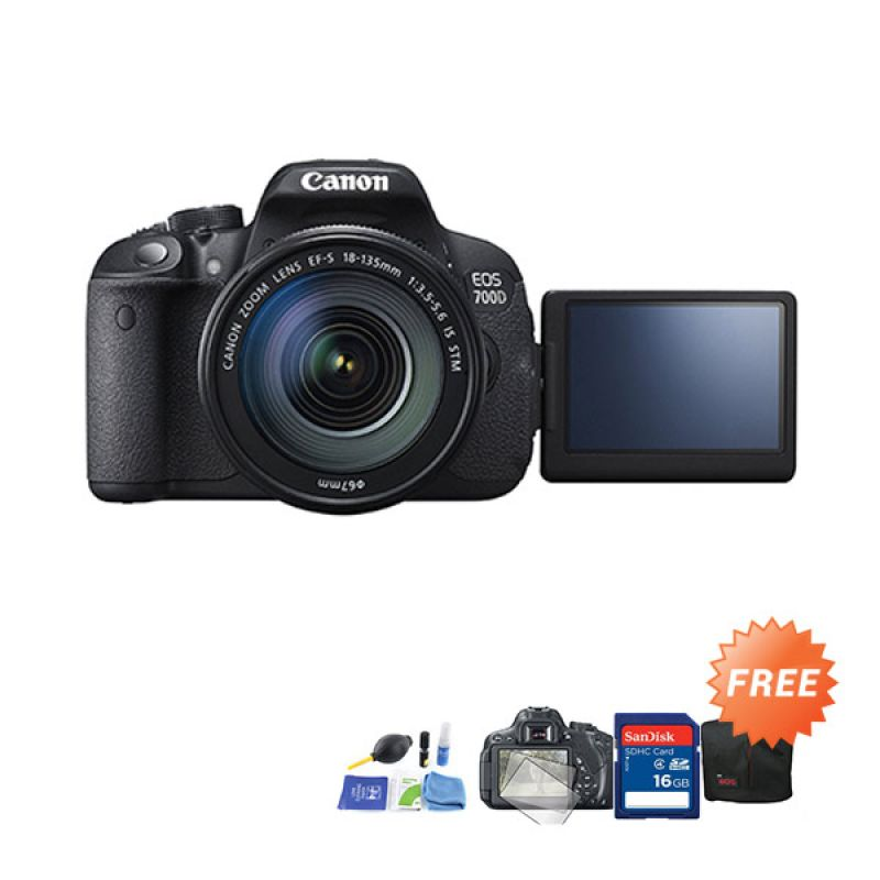 Canon EOS 700D Kit 18-55mm f/3.5-5.6 IS STM Kamera DSLR + Cleaning kit + Screen Protector + SDHC 16GB + Tas DSLR