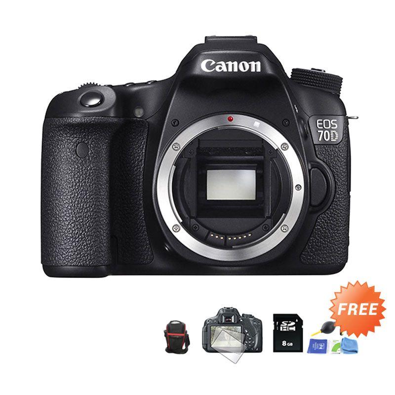 Canon EOS 70D Body WiFi Kamera DSLR + SDHC 8 GB + Cleaning Kit + Tas Segitiga + Antigores