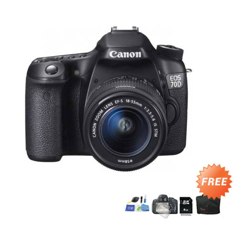 Canon EOS 70D Kit 18-55mm f/3.5-5.6 IS STM WiFi Kamera DSLR + Cleaning Kit + Screen Protector + SDHC 8 GB + Tas