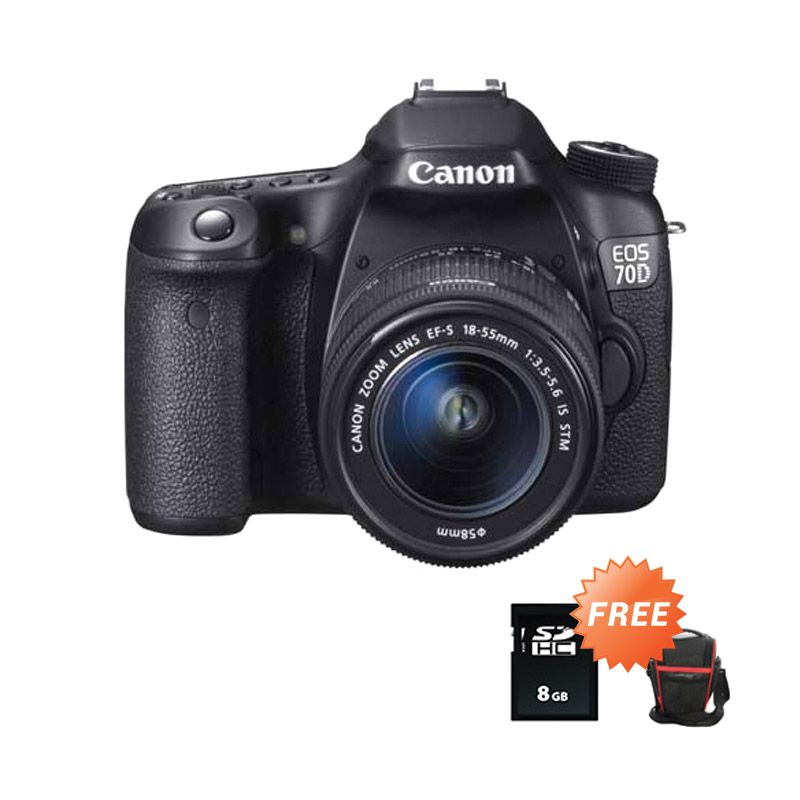 Canon EOS 70D Kit 18-55mm f/3.5-5.6 IS STM WiFi Kmaera DSLR + SDHC 8 GB + Tas Segitiga