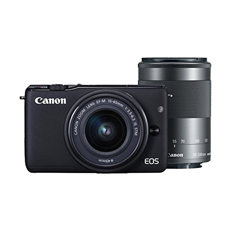 Canon EOS M10 Kit EF-M 15-45mm Black Kamera Mirrorless + Canon 55-200mm