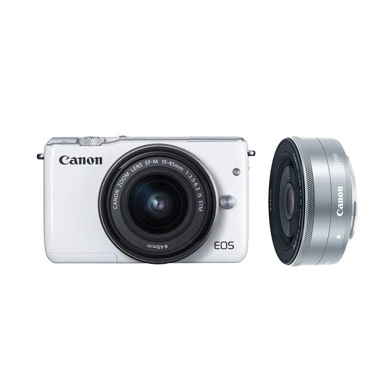 Canon EOS M10 Kit EF-M 15-45mm White Kamera Mirrorless + Canon 22mm