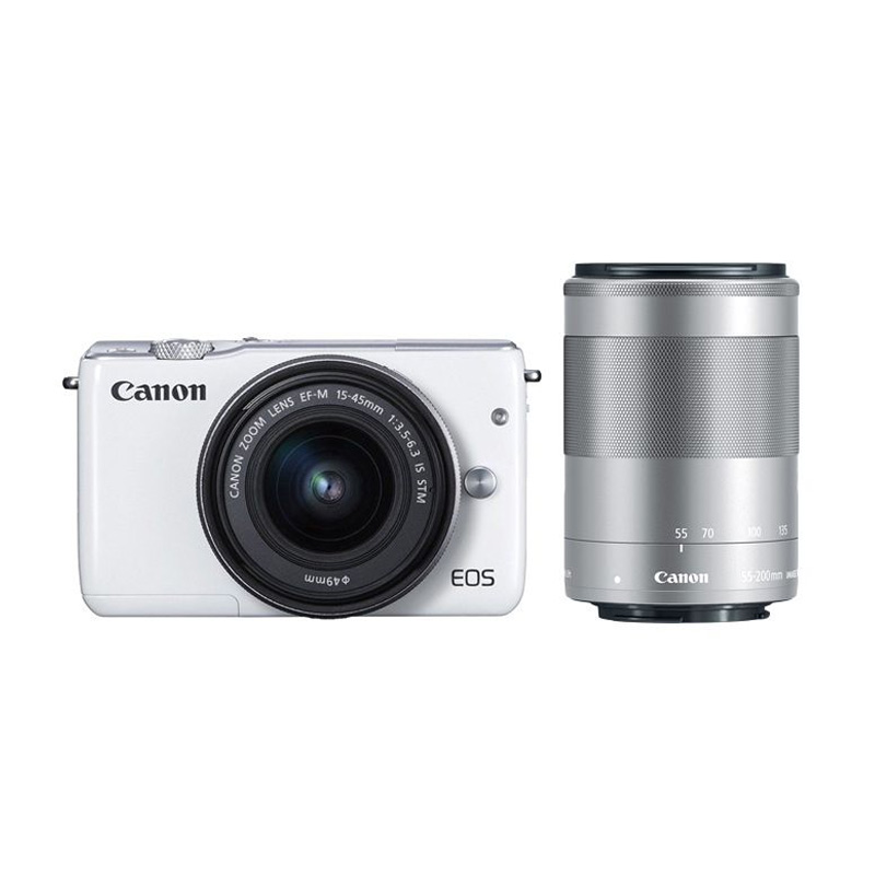 Canon EOS M10 Kit EF-M 15-45mm White Kamera Mirrorless with Canon 55-200mm