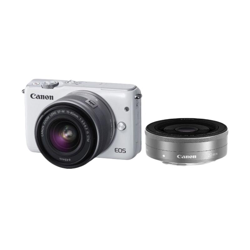 harga Canon EOS M10 Putih EF-M 15-45mm + EF-M 22mm - Putih Blibli.com