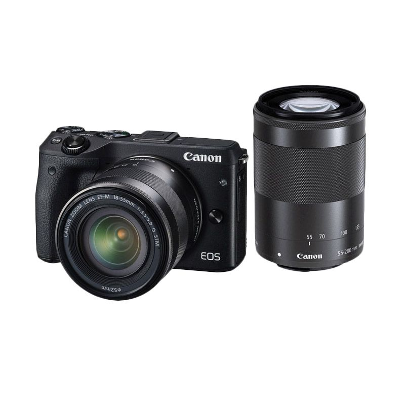 Canon EOS M3 Kit 18-55mm IS STM with 55-200 IS STM Black Kamera Mirrorless