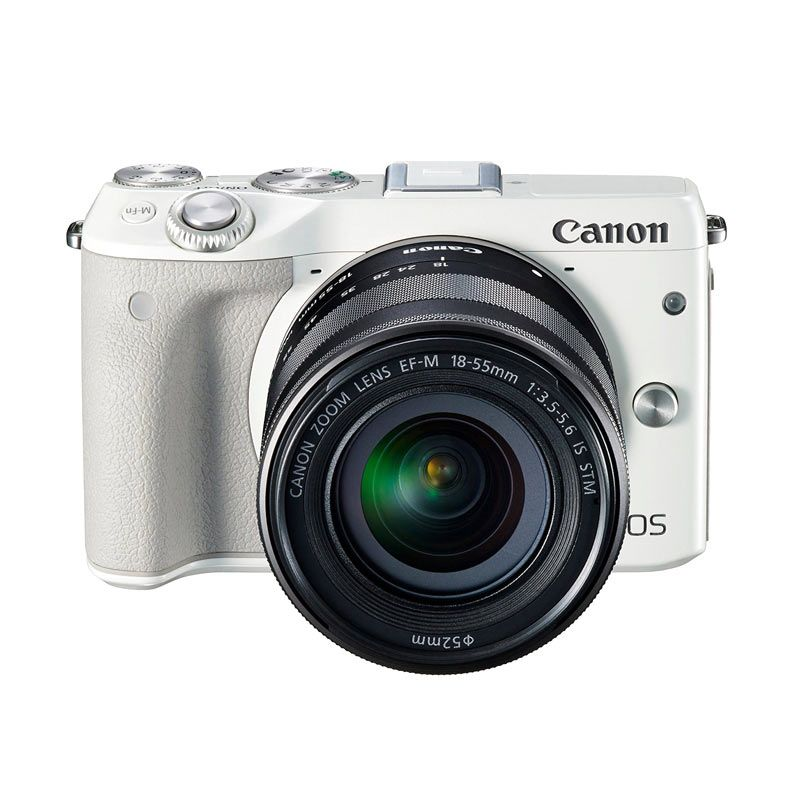 Canon EOS M3 Kit 18-55mm IS STM with 55-200 IS STM White Kamera Mirrorless