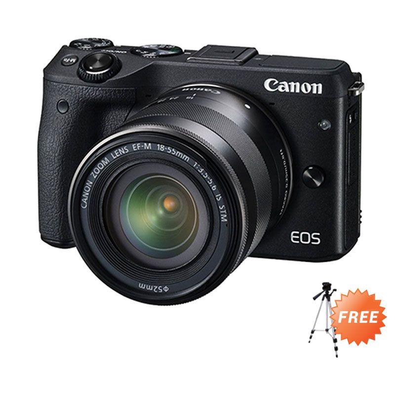 Canon EOS M3 with Lens 18-55mm Hitam Kamera DSLR + Tripod