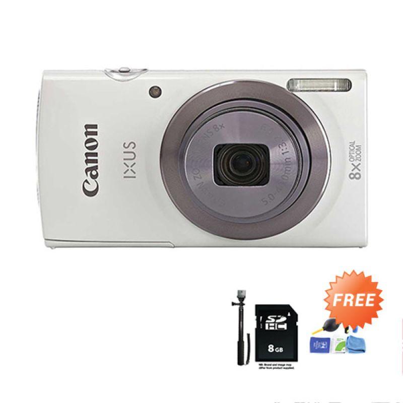 Canon IXUS 160 White Kamera Pocket + SDHC 8 GB + Tongsis Monopod + Cleaning Kit