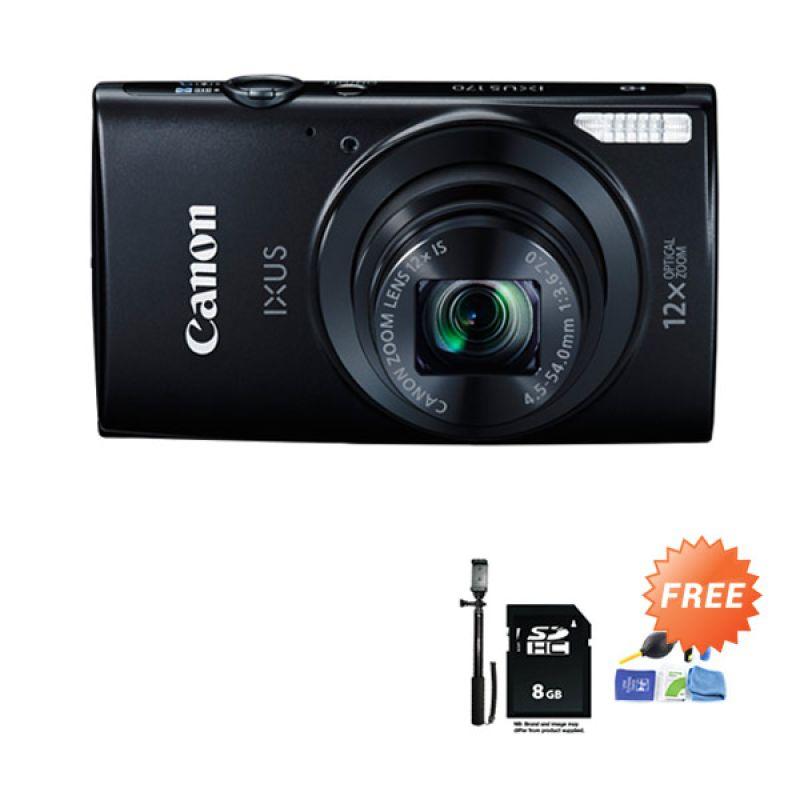 Canon IXUS 170 Black Kamera Pocket + SDHC 8 GB + Tongsis + Cleaning Kit