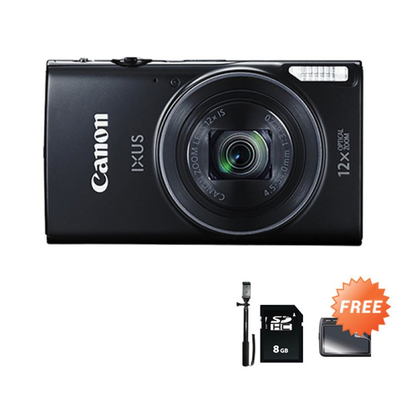 Canon Ixus 275 HS Black Kamera pocket + NSDHC 8GB + TOngsis + Anti Gores