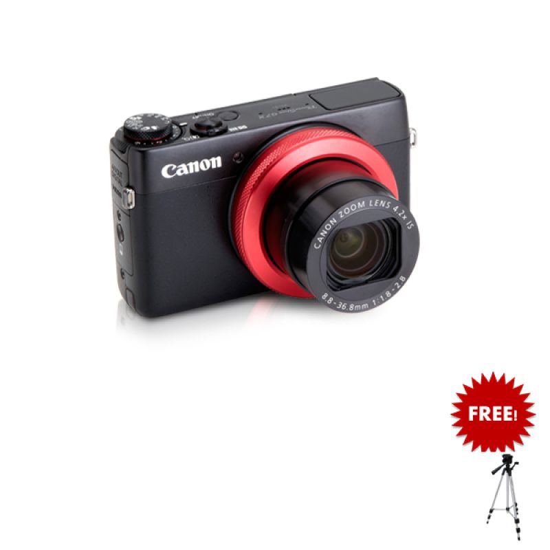 Canon PowerShot G7 X Red Ring Edition + Tripod + Free SDHC 16GB + Softcase