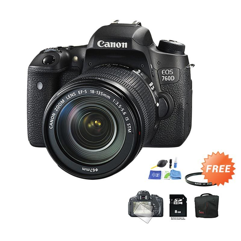 Canon EOS 760D 18-135 IS STM WIFI Kamera DSLR + Cleaning Kit + Filter UV 67mm + Screen Protector + SDHC 8 GB + Tas DSLR