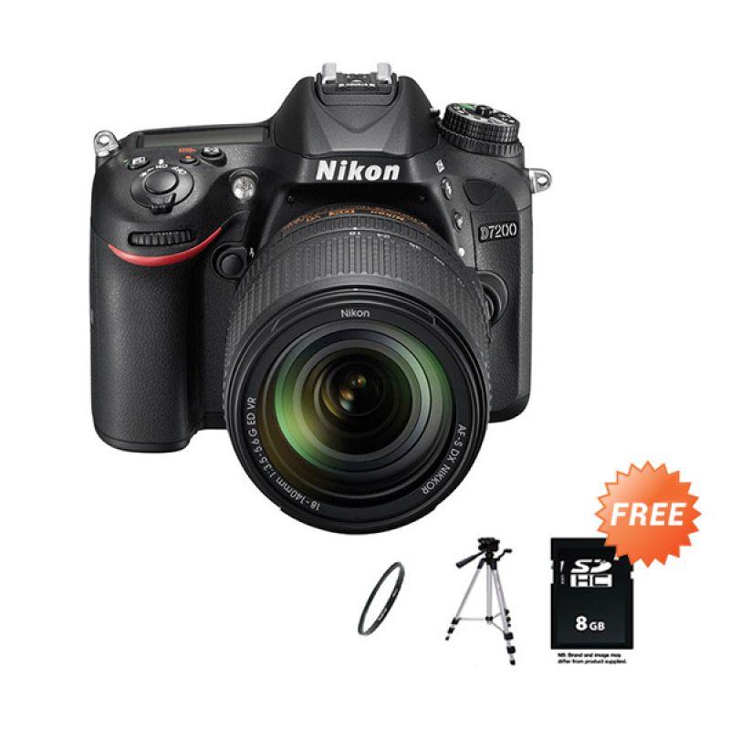 Nikon D7200 Kit 18-140mm VR Kamera DSLR + SDHC 8 GB + Tripod + Filter 67 mm