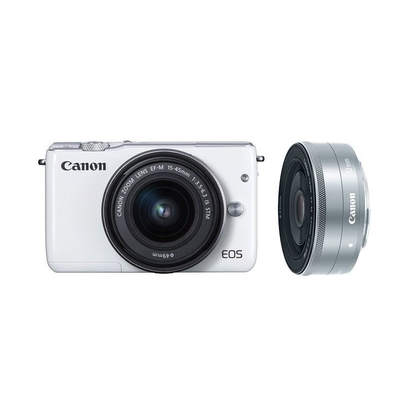 OCBC Canon EOS M10 Kit EF-M 15-45mm White Kamera Mirrorless + Canon 22mm