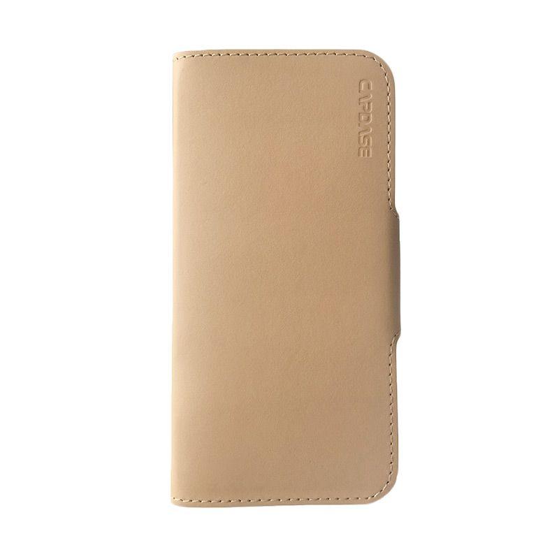 Capdase Posh Genuine Leather Folio Case Gold Beige Casing For  iPhone 6/6s plus