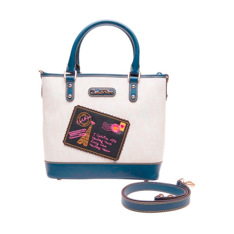 CARLO RINO Adriene Boston Bag White/Blue