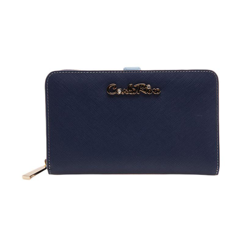Carlo Rino Brianna Two Fold Zipper Blue Dompet