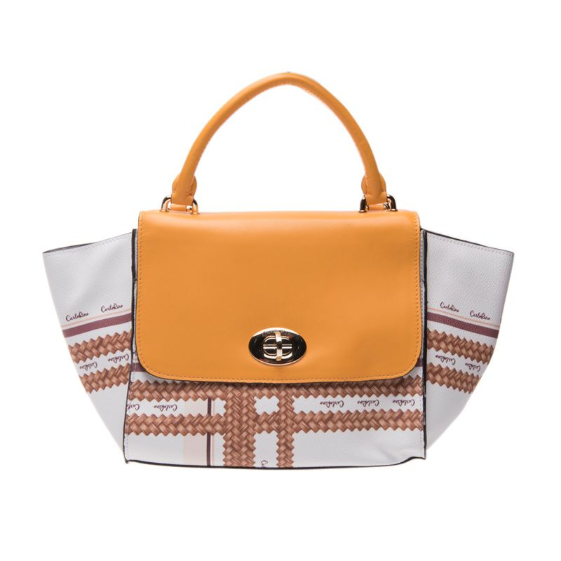 Carlo Rino Joanna Medium Satchel Bag Yellow White Tas Tangan