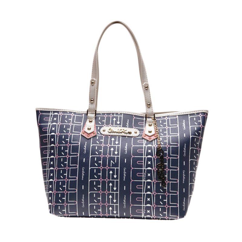CARLO RINO Jolene Blue/White Tote Bag