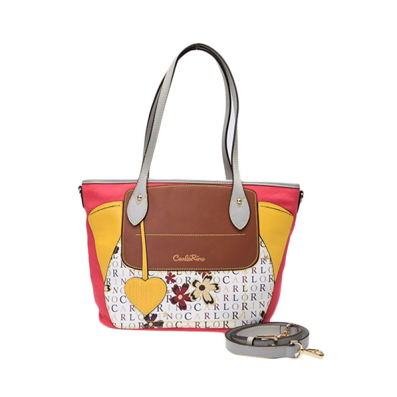 Carlo Rino Sallie Pink Yellow Tote Bag