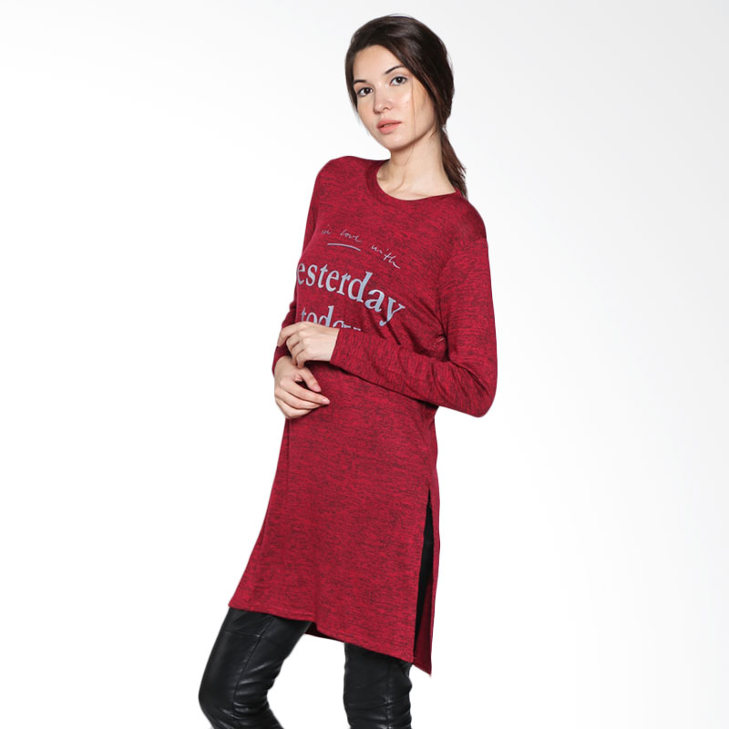 Carte Casual Long Top Yesterday Today - Maroon