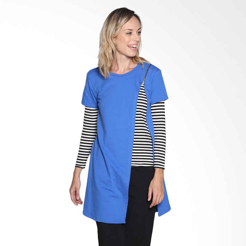 Carte Chloe Zipper Stripes Top Atasan Wanita - Blue
