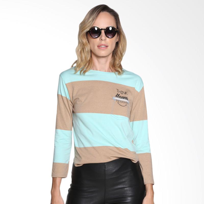 Carte Color Block Shirt Atasan Wanita - Brown Blue