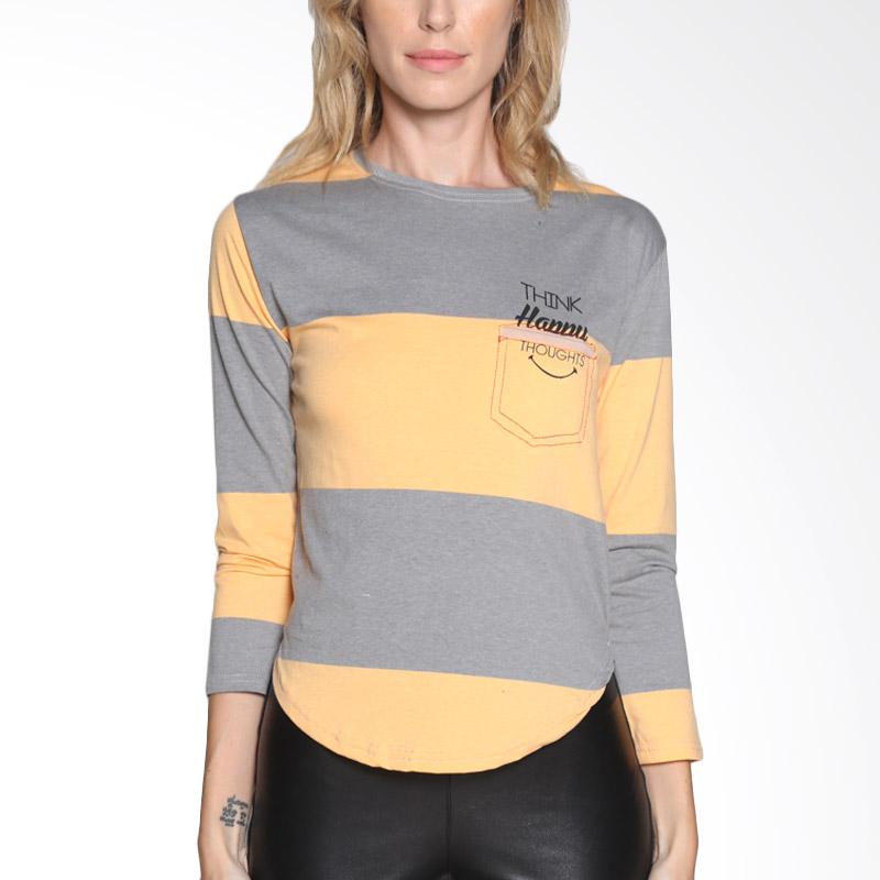 Carte Color Block Shirt Atasan Wanita - Grey Yellow