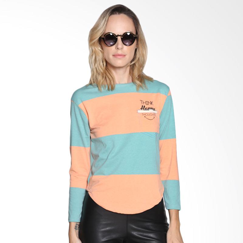 Carte Color Block Shirt Atasan Wanita - Orange Blue