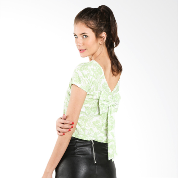 Carte Cropped Printed Green Tee