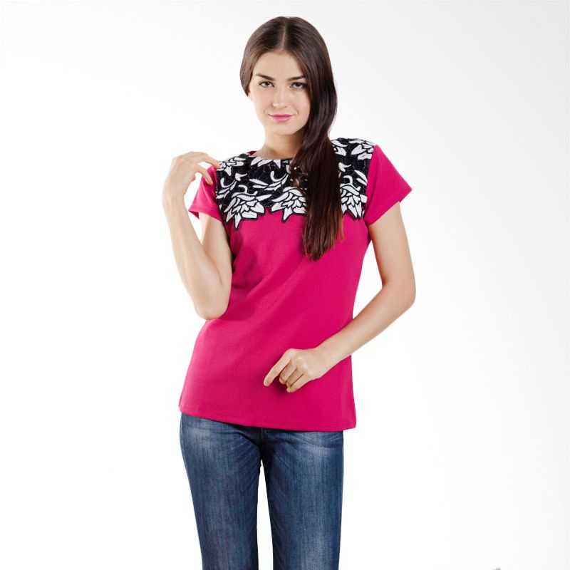 Carte Embroidered Floral Fuschia Atasan Wanita